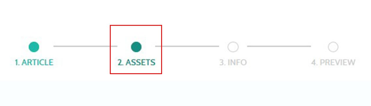 "Navigate to the ""Assets"" section to add project materials"