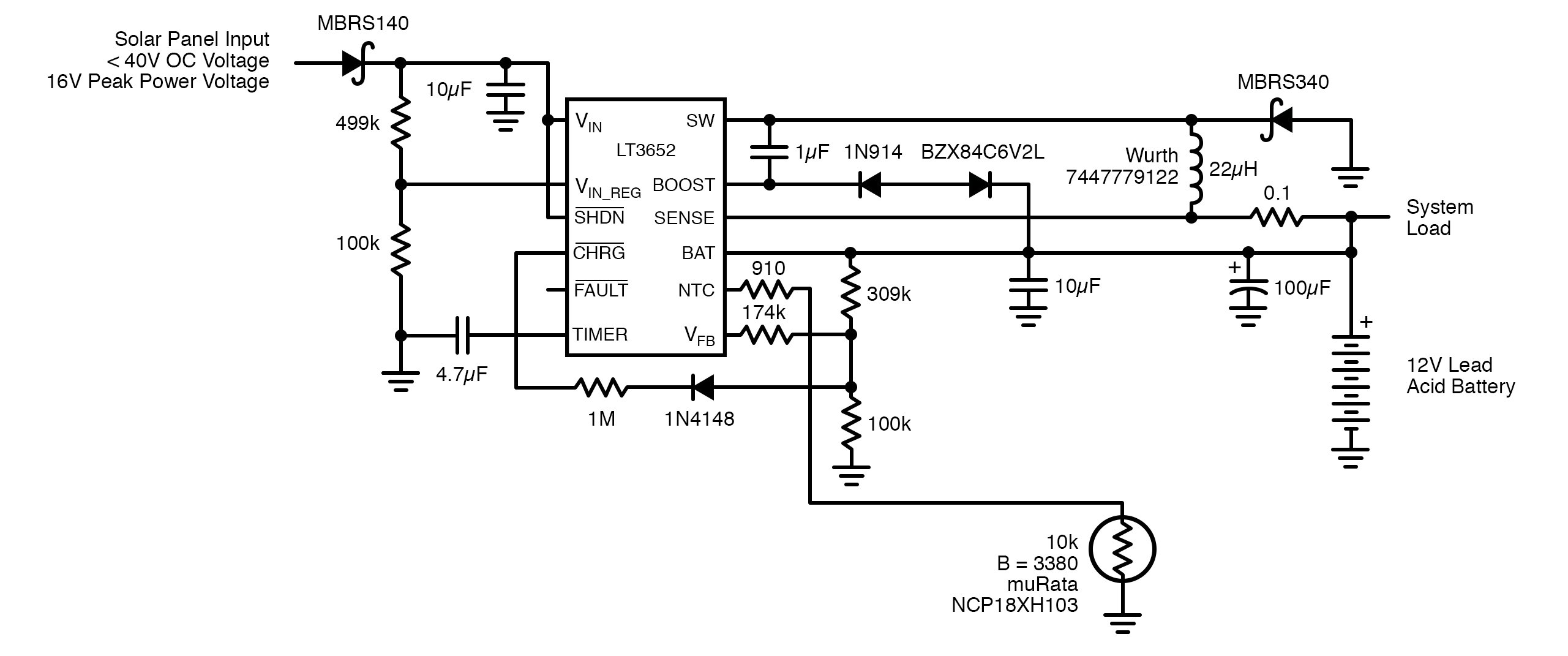 circuit diagram LT3652 IC