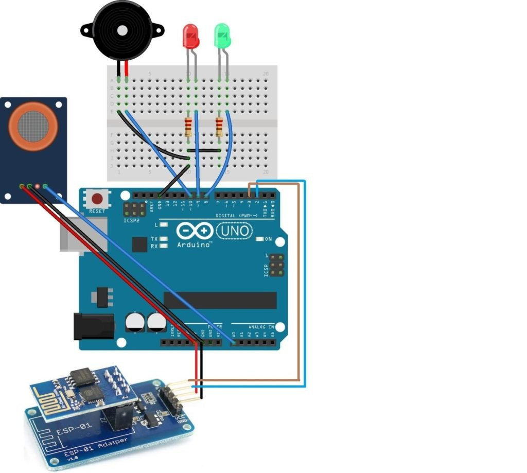 How To Make An Iot Smoke Alarm With Arduino Esp8266 And A Gas Mq7 Circuit Diagram 1024x919