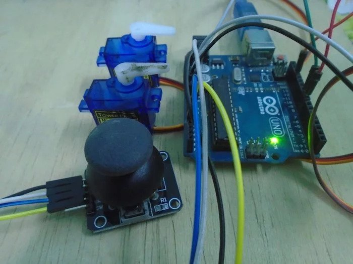How to Control Servo Motors With an Arduino and Joystick | Arduino Make Block Joystick Wiring Diagram on joystick schematic diagram, joystick connector, joystick circuit, joystick parts, joystick cable, joysticks connections diagram, joystick 6 pin wiring, plow joystick diagram, western plow hydraulic diagram, joystick switch, western joystick wire diagram, western plow pump diagram,