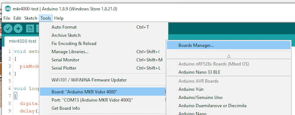 select board manager in Arduino IDE