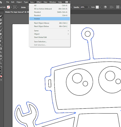 select inverse to select all of your drawing
