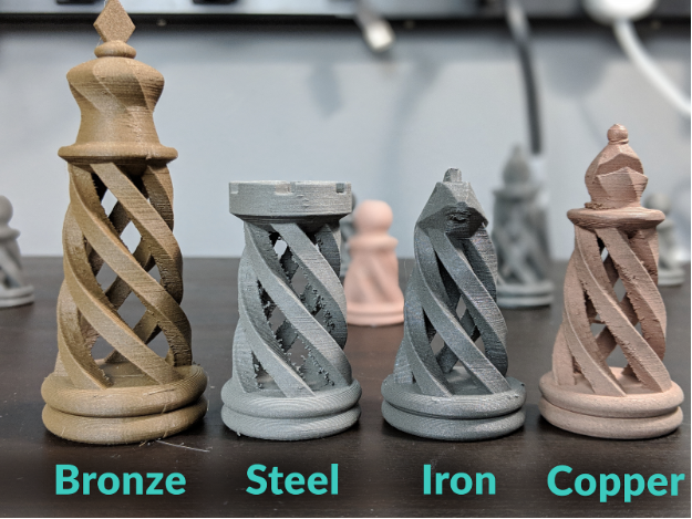 Different variations of prints using metal-composite filaments