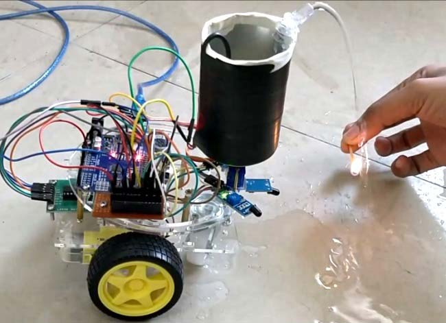 Cell Phone Controlled Robot with Fire Detection Sensors