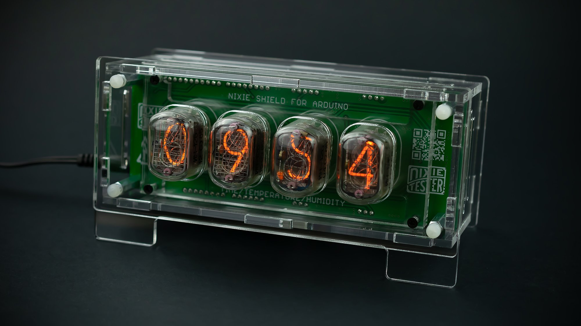 Nixie Clock Thermometer Hygrometer Arduino Shield - Transparent Housing