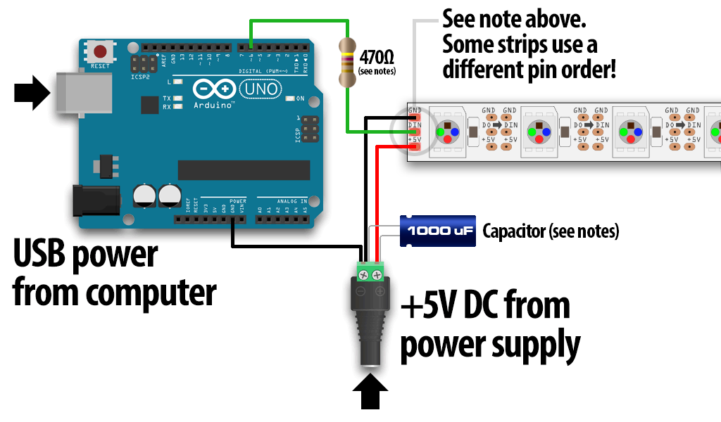 connecting arduino to led strips and power