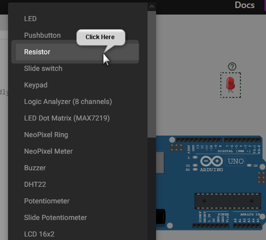 Add the resistor component