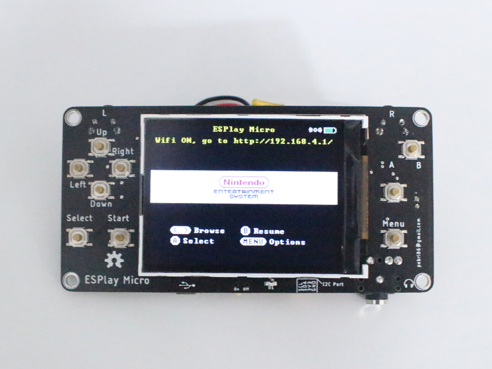 ESPlay Micro power supply by battery