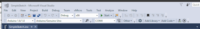 newly added menu bar in Visual studio