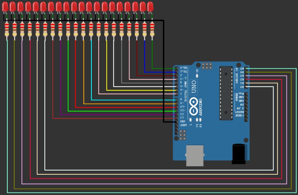 LED chaser project 20 LEDs on Wokwi Arduino Simulator