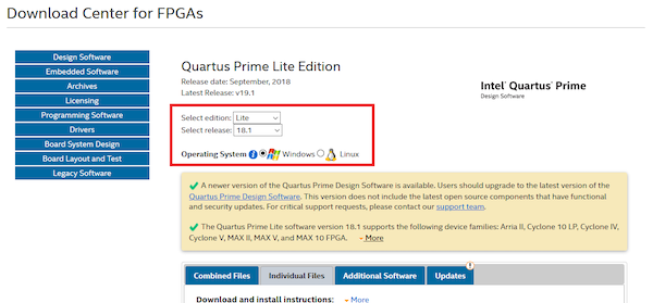 download page for quartus prime lite edition