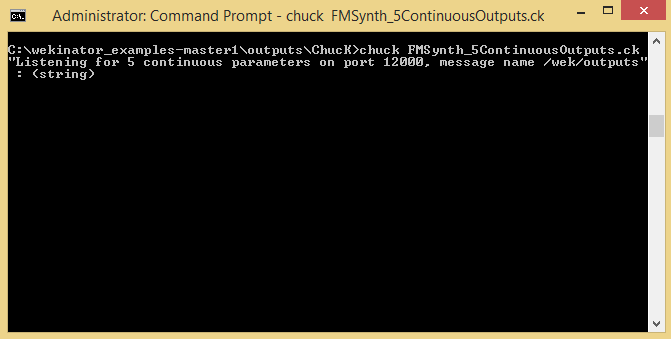 enter this command into the chuck program in Wekinator