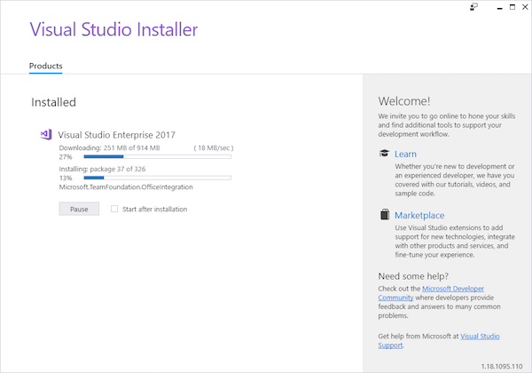 select visual studio options