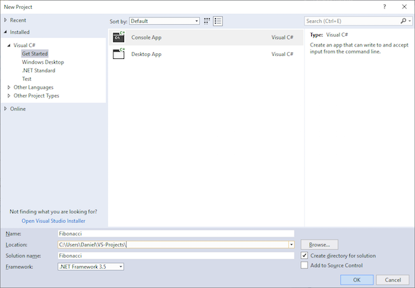 new project window in Visual Studio
