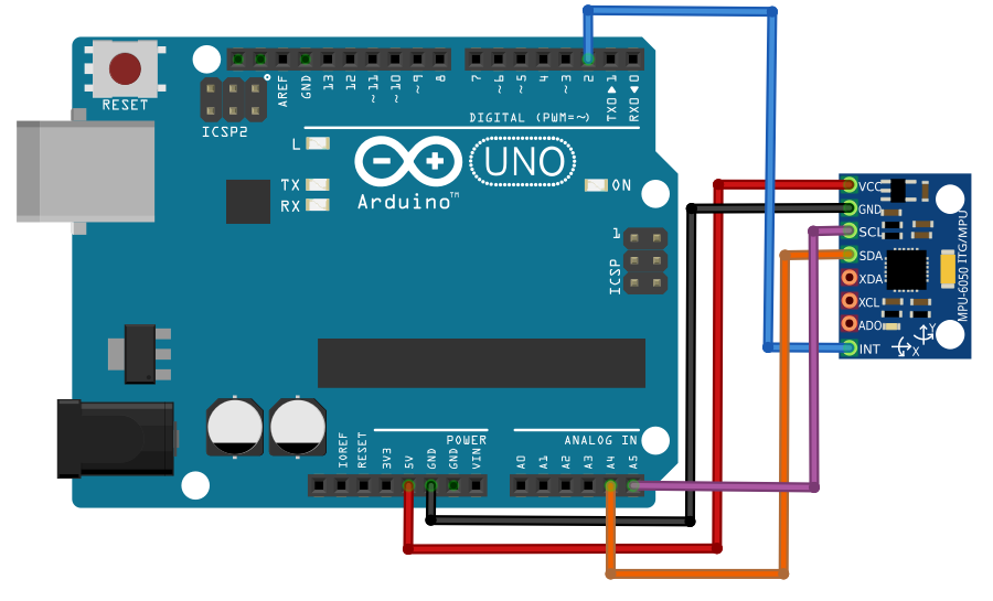 connecting arduino uno and mpu6050