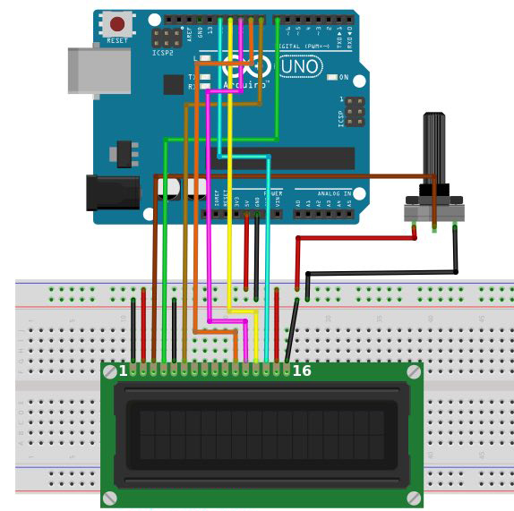 How to connect an lcd display to your arduino education maker pro final connections between the arduino potentiometer and lcd asfbconference2016 Images