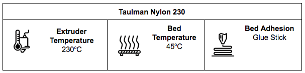Taulman Nylon 230 Specification