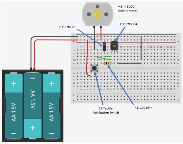 A transistor DC motor driver circuit wired on a solderless breadboard.