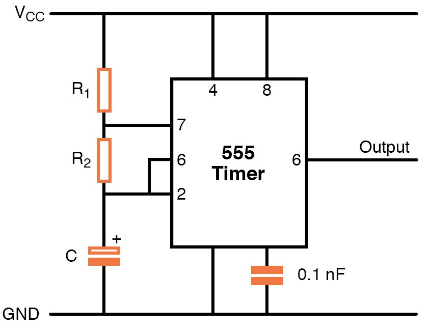 a typical 555 IC circuit in astable mode