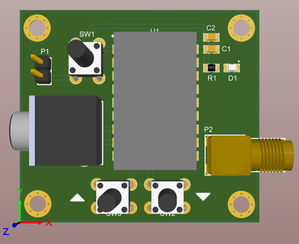 A 3D view of the assembled board