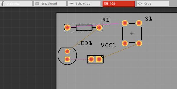 fritzing.png中的PCB设计窗口