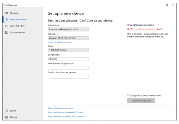 Setting up Windows 10 IoT on your device