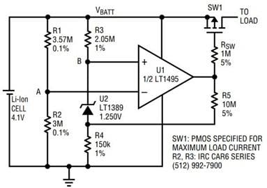 Over-Discharge protection circuit using LT1495.