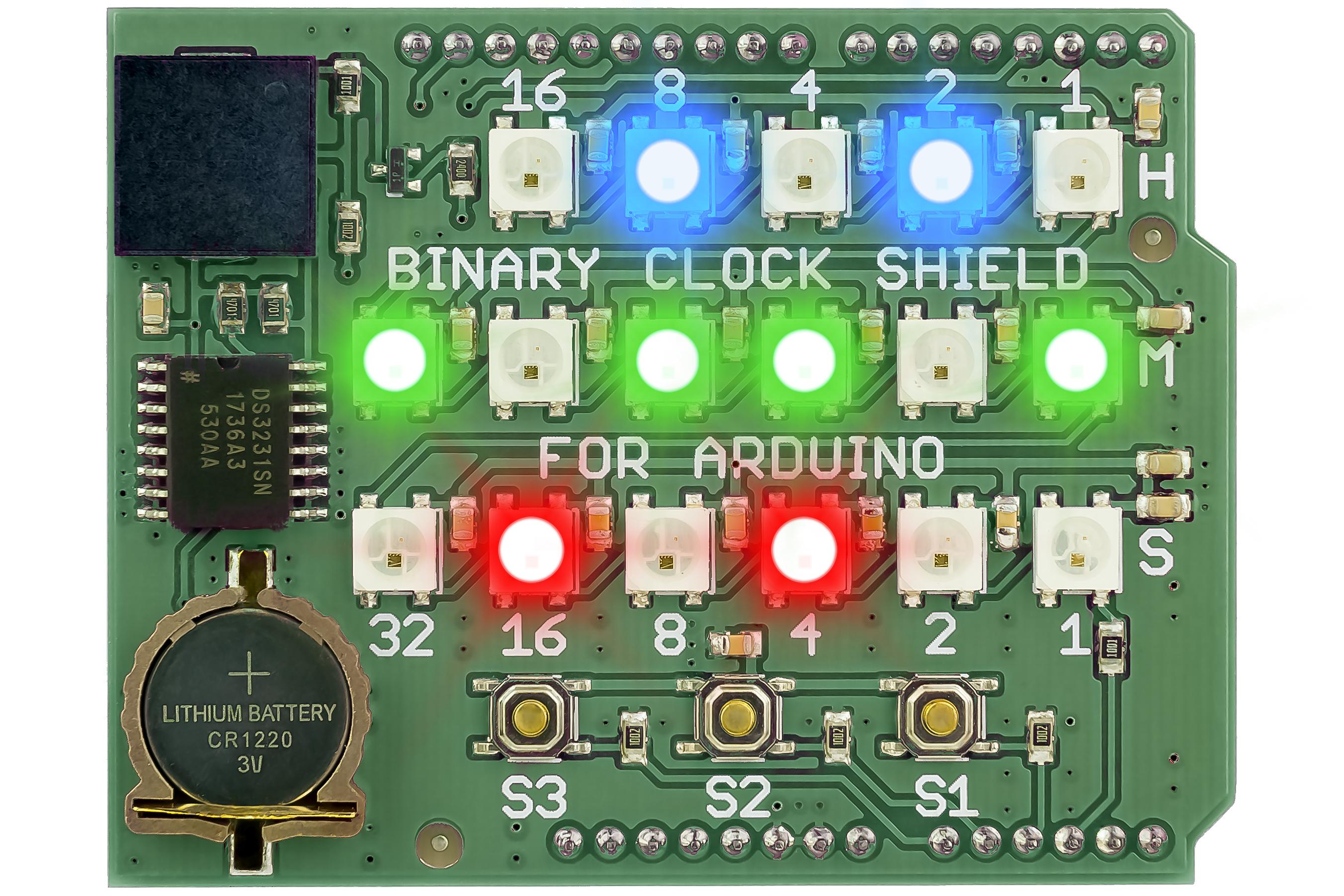 Binary Clock Shield for Arduino