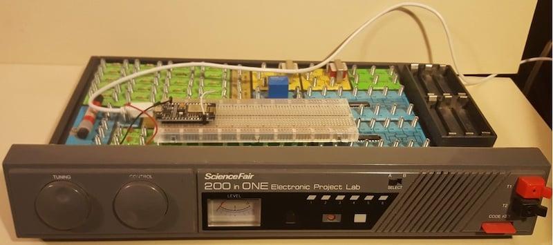 Figure 9. A Retro Electronics based Radio Shack Science Fair ESP8266 WiFi Network Scanner.