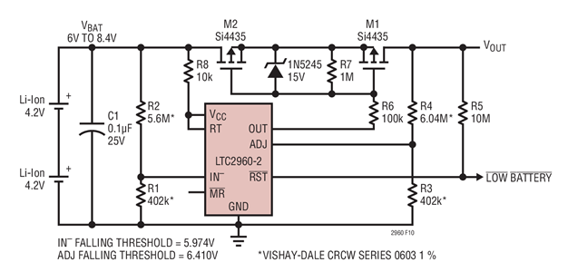 Over-discharge protection using LTC2960