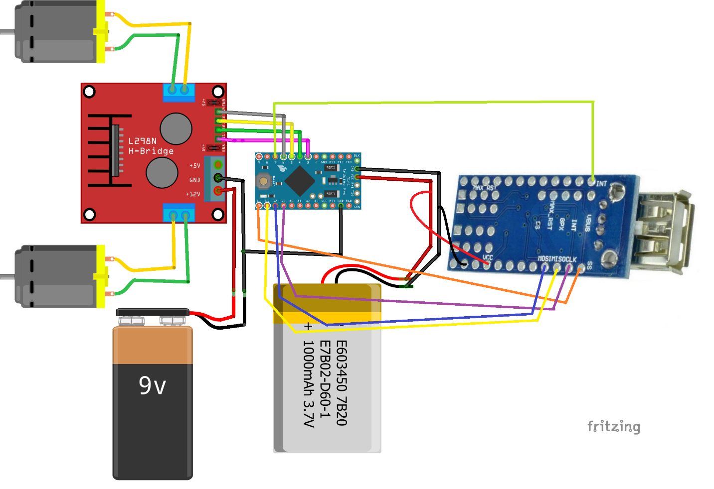 Fritzing diagram if you are not using an Arduino Mini or the shield setup.