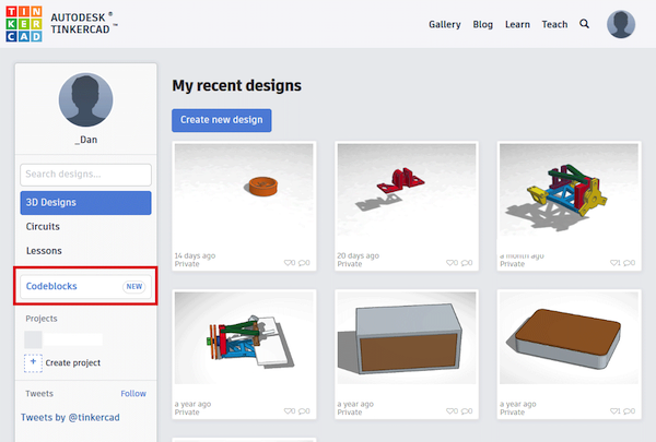 codeblocks button on tinkercad user dashboard