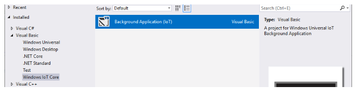 Creating a new Windows IoT Core background application