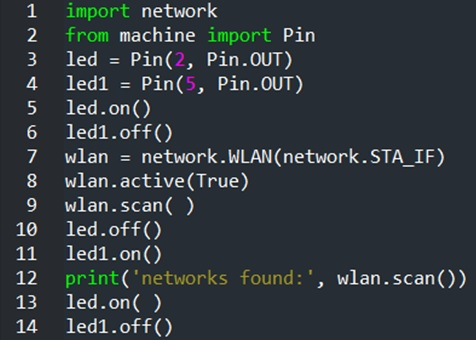 Figure 10. The WiFi Network Scanner MicroPython Code.