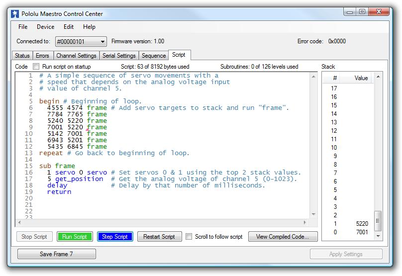 script tab pololu maestro control center