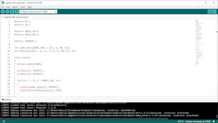 screenshot of Arduino IDE