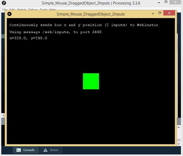 processing window in Wekinator