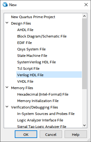select verilog hdl file