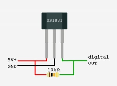 how to use a hall effect sensor with arduino arduino maker pro rh maker pro hall effect sensor circuit diagram ugn3503ua hall effect sensor circuit