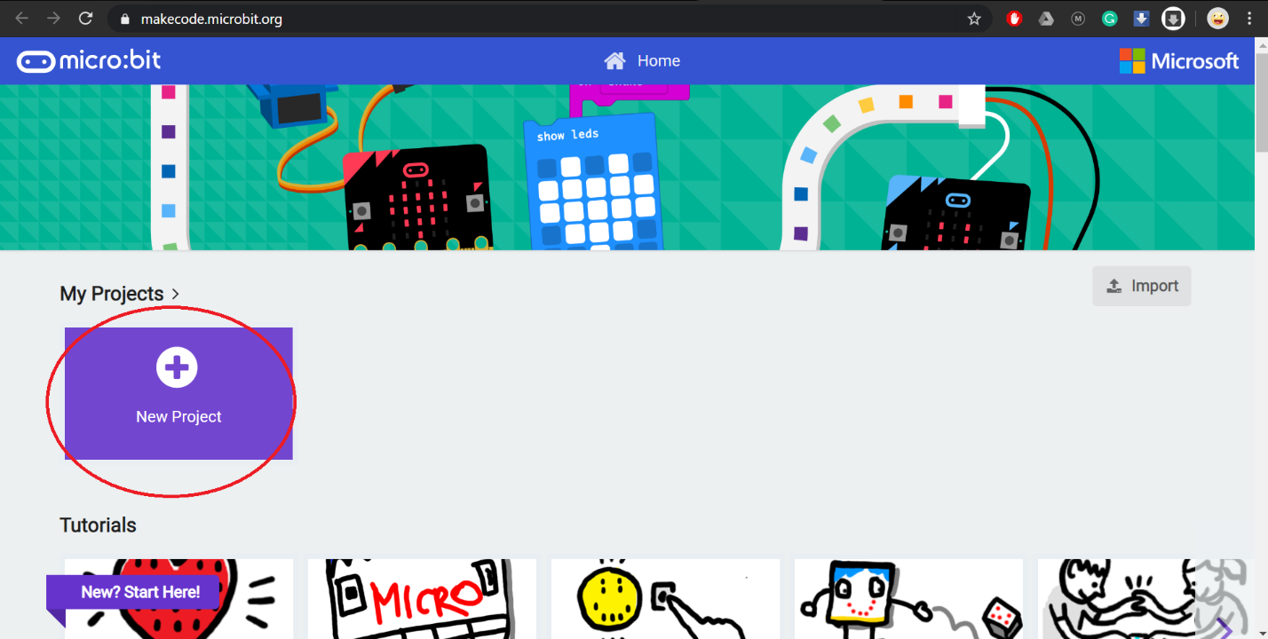 click new project