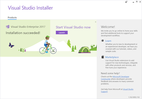 visual studio successful installation