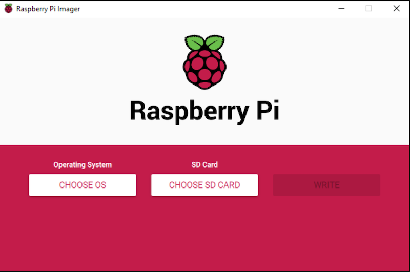 welcome screen raspberry pi imager