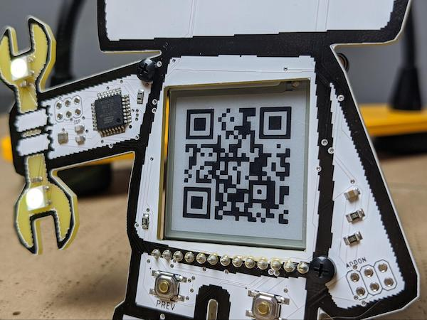e-ink display on maker pro PCB badge