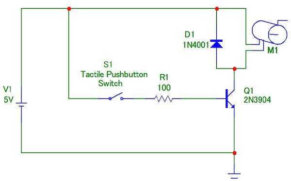Figure 1. A typical transistor DC motor driver circuit.