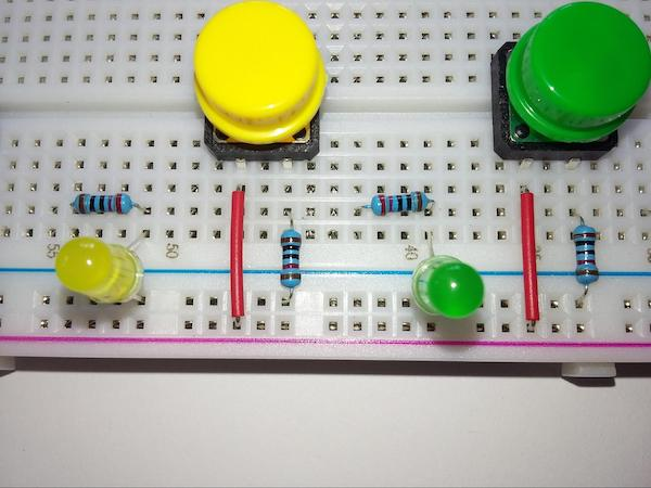 Connecting the pushbuttons and LEDs.