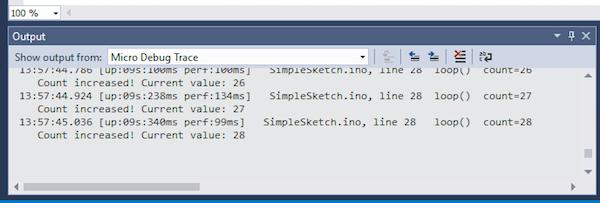 output panel displaying debug messages
