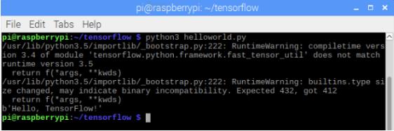 Testing TensorFlow to print Hello World