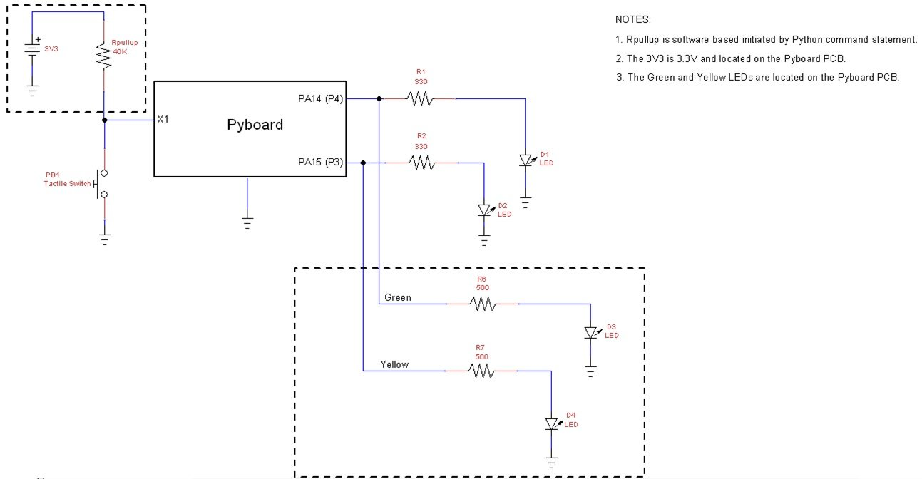 Introduction To Micropython And Pyboard Part 2 Led Flasher Project Circuit Diagram The Device Schematic