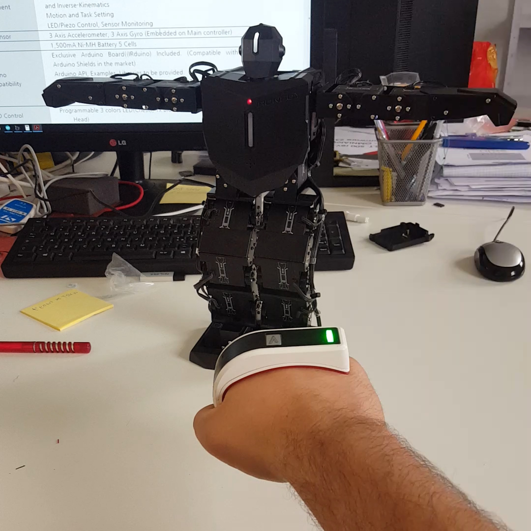 Use T-Skin to Control an Arduino Humanoid Robot's Arms