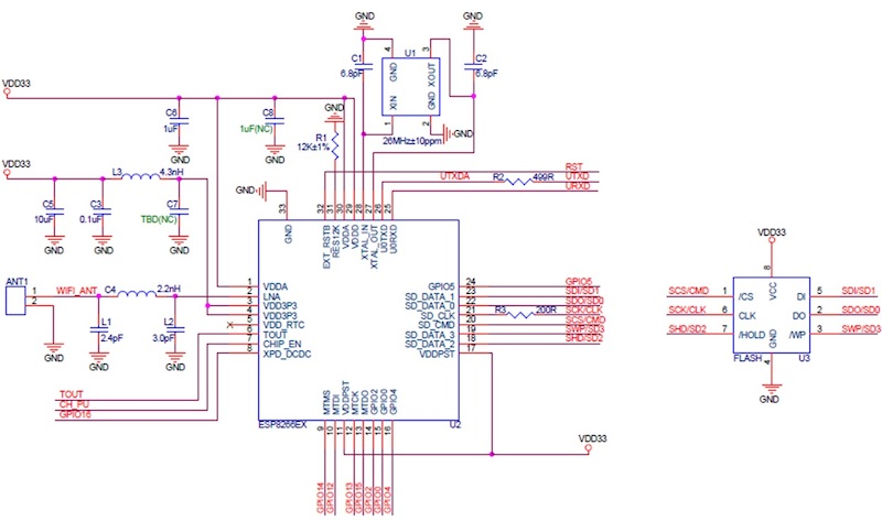 Figure 4. The ESP8266 PCB module circuit schematic diagram.